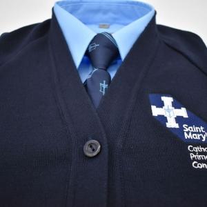 Navy V neck school cardigan with logo