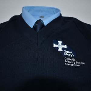 Navy V neck school jumper with logo