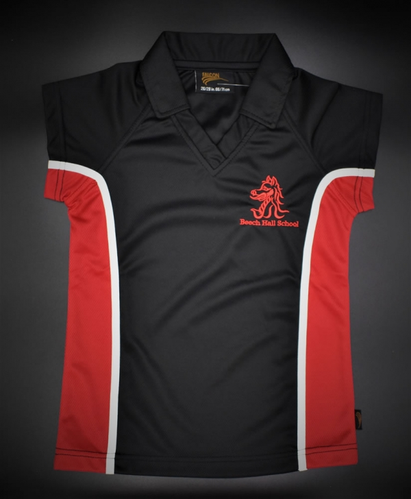 Beech Hall Girls Red/Black PE Polo Shirt