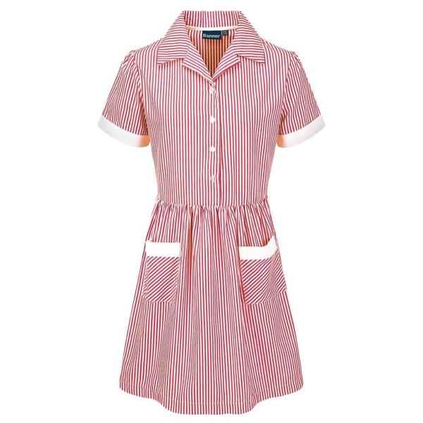 Beech Hall Girls Red Corded Stripe Summer Dress